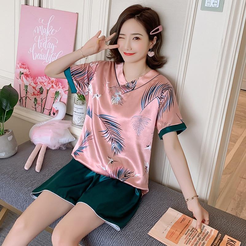 8829 # Pajamas Women's Summer Viscose Thin Sexy Cute Real Silk Short Sleeve Two-Piece Set Summer Home Wear