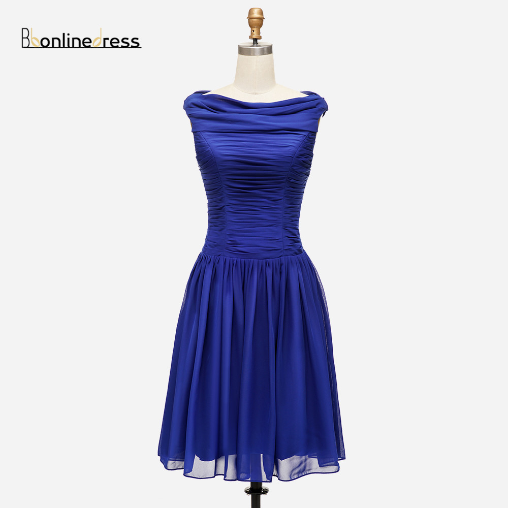 2020 New Listing Cheap Homecoming Dress Chiffon A-Line Short Party Gowns Pleat Above Knee Mini Gowns Vestido De Festa Curto