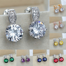 Charm Female Yellow Crystal Stone Earrings Cute Rose Gold Silver Stud Earrings For Women Trendy Rainbow Round Wedding Earrings