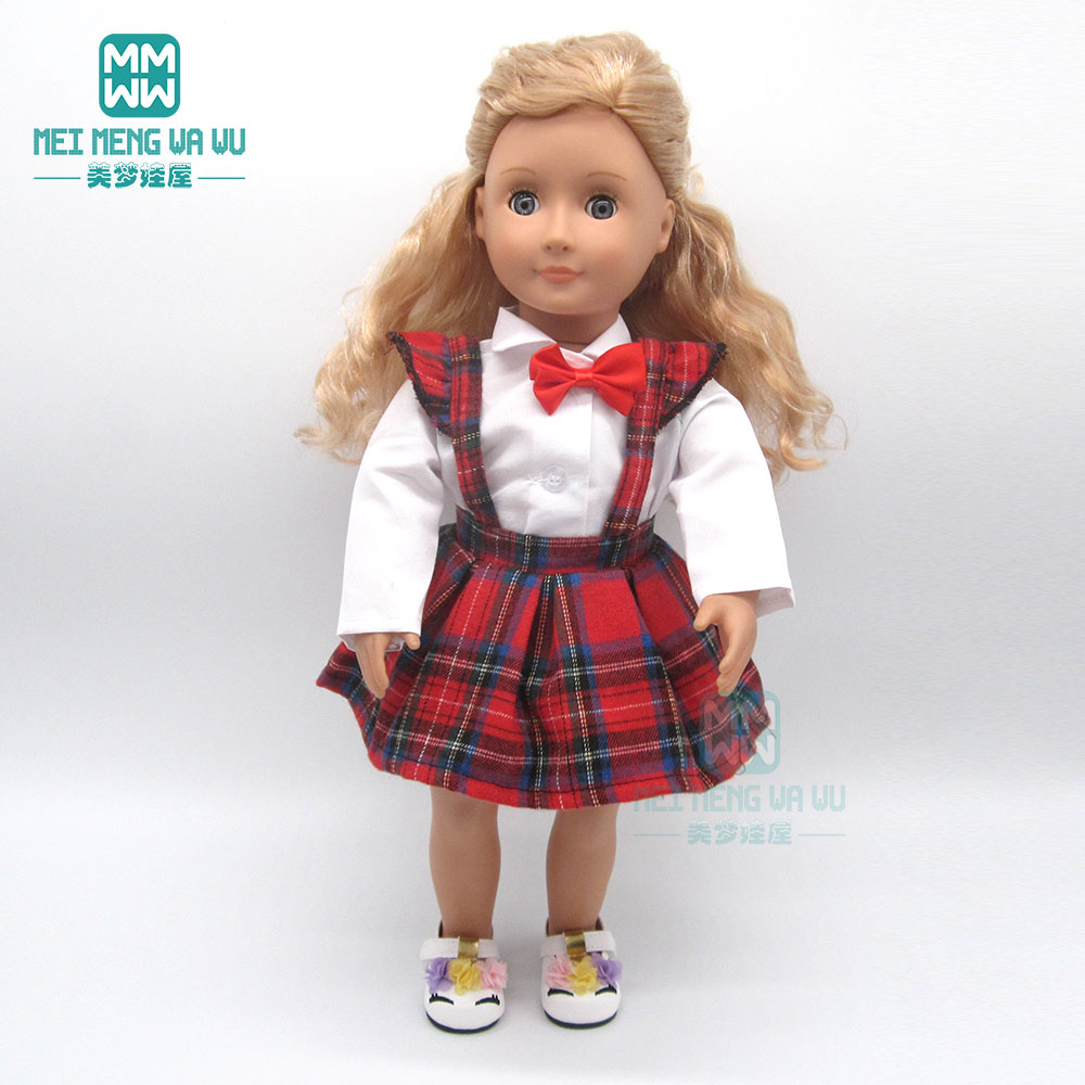 Doll Clothes Shirts And Plaid Skirts Gir Dress Fits 45 Cm American Doll And New Born Doll Accessories