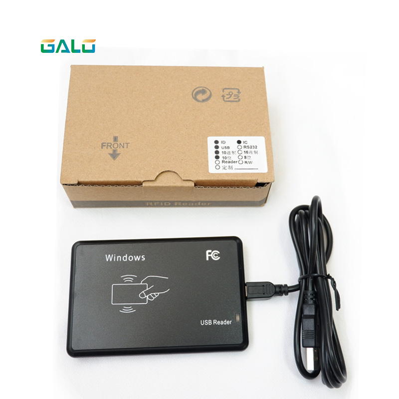 13.56mhz+125khz No Driver Double Frequency RFID Reader Black High Quality Low Price Support Windows95/98/2000/XP