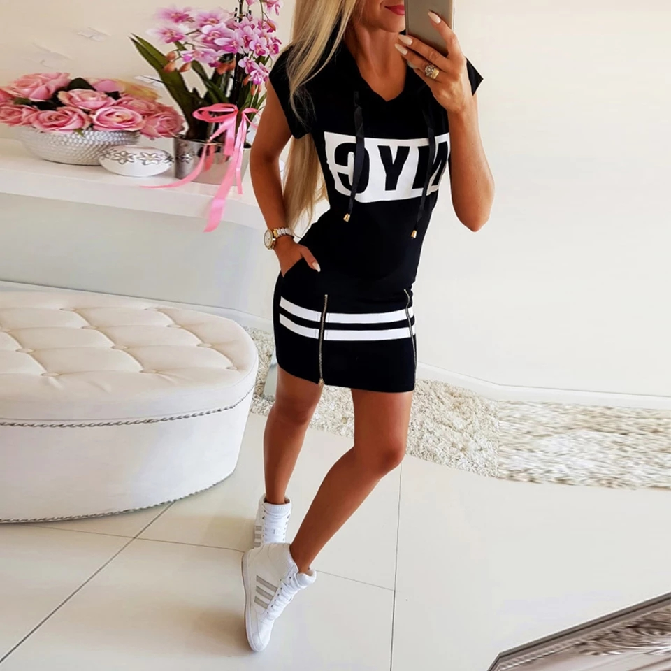 Had28cffb7b004c65bb5e2fb6a3507df7f - Hooded Women Summer Dress Short Sleeve Letter Print Zipper Hoodies Lady Dress Fashion Female Thin Mini Dress vestidos