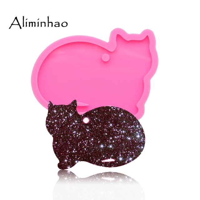 Dy0089 Shiny Cat Keychains Mold Pendant Polymer Clay Diy Jewelry Making Glitter Epoxy Silicone Resin Mold Clay Molds Aliexpress