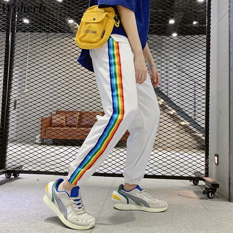 Woherb Harajuku Streetwear Harem Pants Women And Man Unisex Trousers Side Rainbow Striped Print Causal Loose Joggers Summer 2019