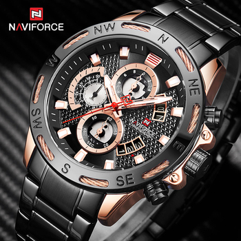 NAVIFORCE 9165 Men Watches Black Steel Band Quartz Clock with box