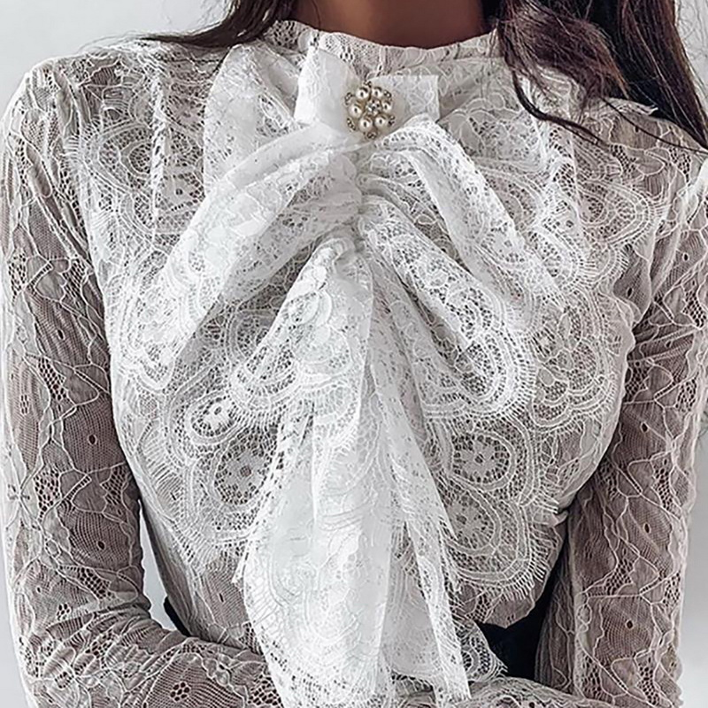 2020 New Spring Women Sexy Lace Blouse Female Long Sleeve White Shirts White Beaded Bow Tie Bell Cuff Lace Blouse Ladies Tops