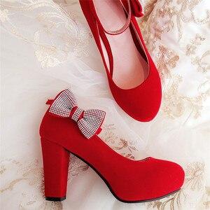 Image 3 - Rimocy feminino plus size 45 cristal bowtie bombas super alta saltos quadrados tornozelo cinta festa sapatos de casamento mulher rebanho sapatos 2019
