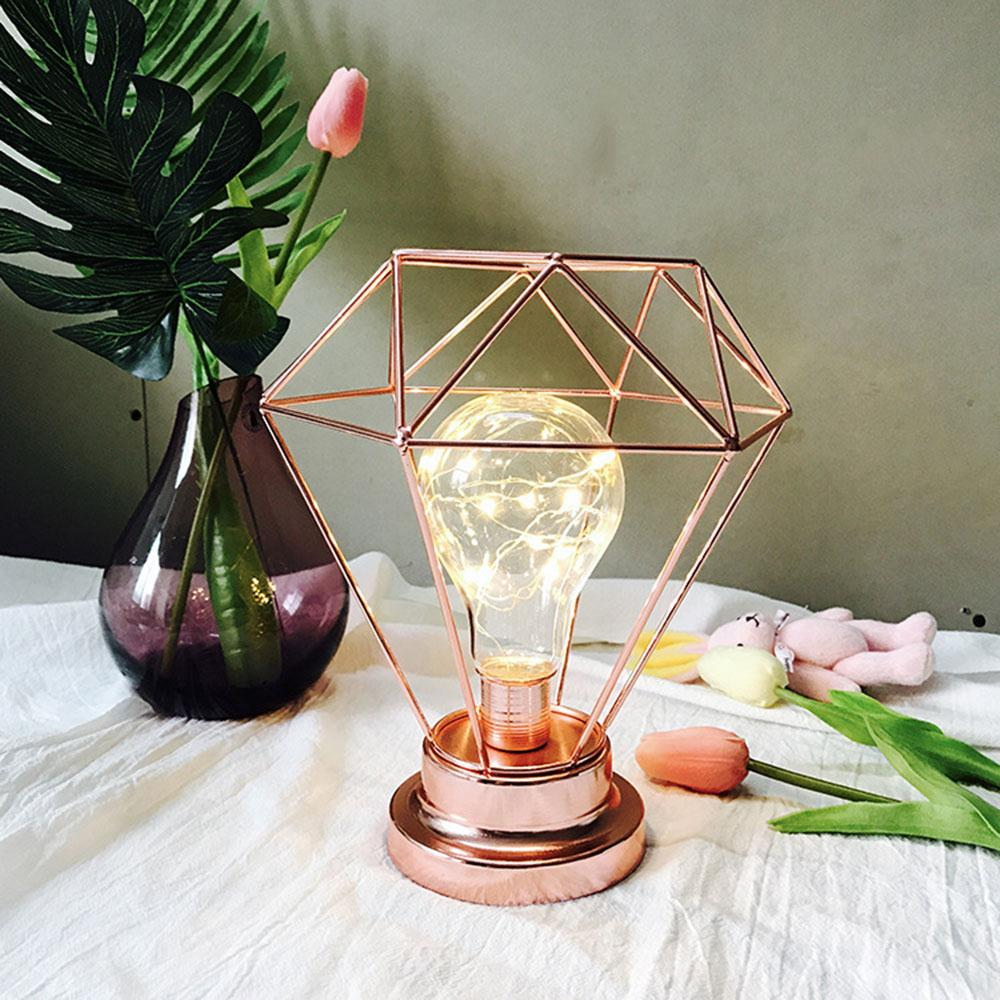 Lamp 9.5 * 20 * 21.5cm Rose Gold Night Light Gifts Room Decor Lighting Fixture Bright Home Indoor Decoration Simple Creative