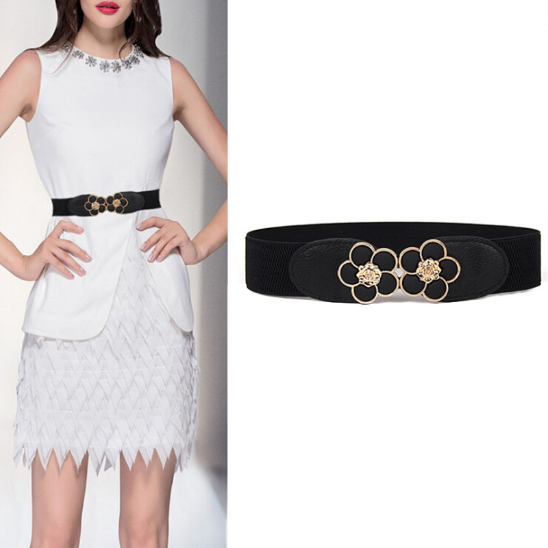 Wedding Lady Coat Cummerbunds Women Elastic Belt HOT Black Waistband Wide Elegant Gold Buckle Cummerbunds For Women Dress Cinto