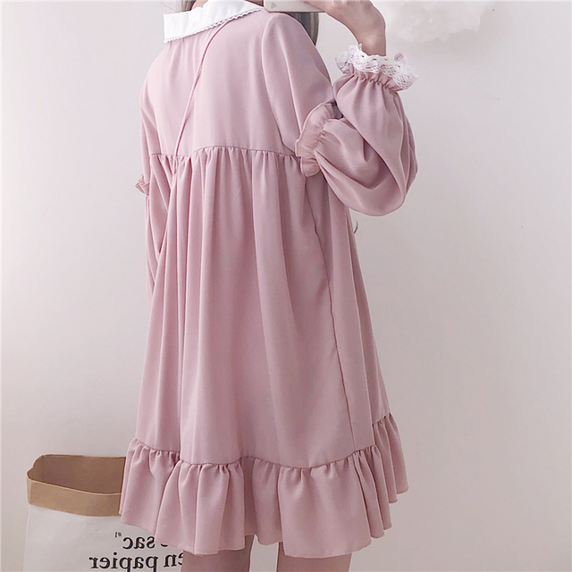 Woherb 2021 Summer Dress Women Harajuku Pink Ladies Ruffle Lace Patch Kawaii Dresses Lolita Cosplay Sweet Loose Vestidos 21092 3