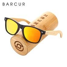 BARCUR Polarized Glasses Men Bamboo Wood Sun Glasses Women Fashion Mirror Sunglasses Brand Designer Eyewear
