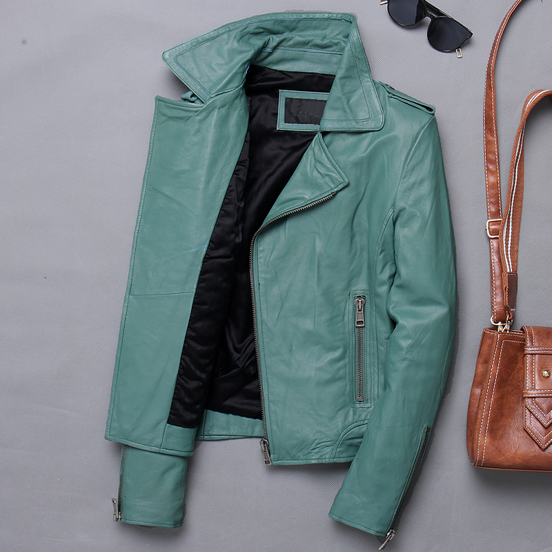 Genuine Leather Jacket Women Short Motorcycle Sheepskin Coat Korean Biker Jacket Slim Women's Leather Jackets 2020 X-1227 KJ3647