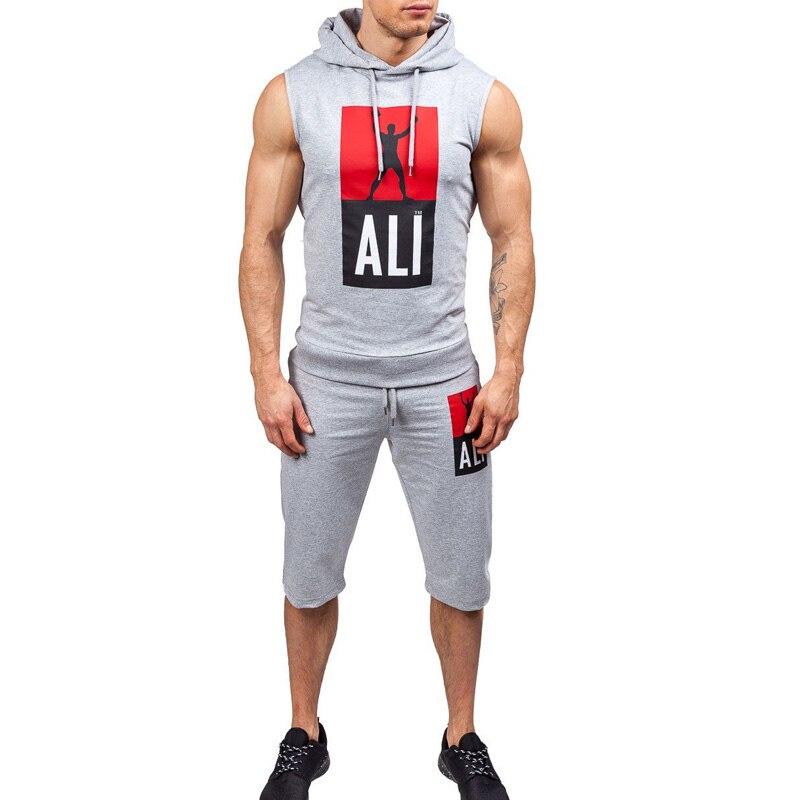 ZOGAA, спортивный костюм, набор для мужчин, 2019, летние спортивные костюмы для фитнеса, 2 шт, без рукавов, толстовки + шорты, набор, мужской модный ...