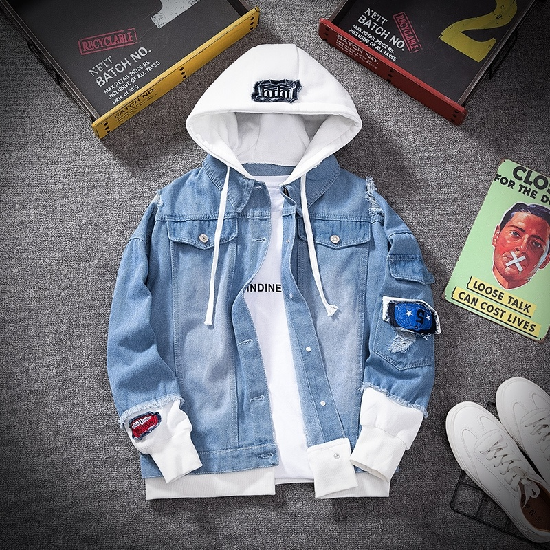 Jaqueta jeans masculina streetwear hip hop com capuz jaqueta jeans masculino casual solto outerwear 2020 nova primavera moda fino ajuste casaco
