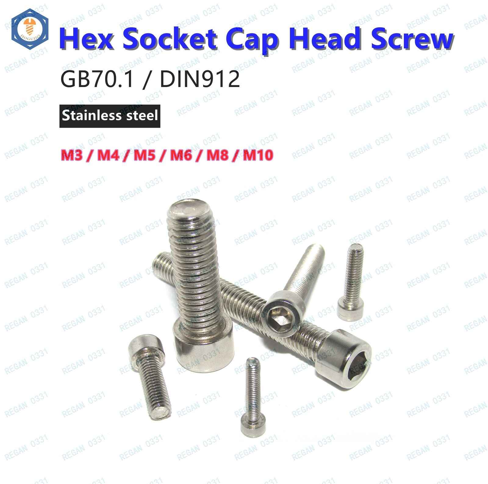 220x Stainless Steel Metric Socket Cap Screws Kit M3 M4 M5 M6 M8 DIN912 Repair