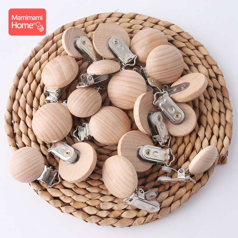 Mamihome 50pc Wooden Pacifier Clips Beech Wooden Teether Metal Clips Bpa Free Soother Clasp Wooden Blank Nipple Holder Chain Toy