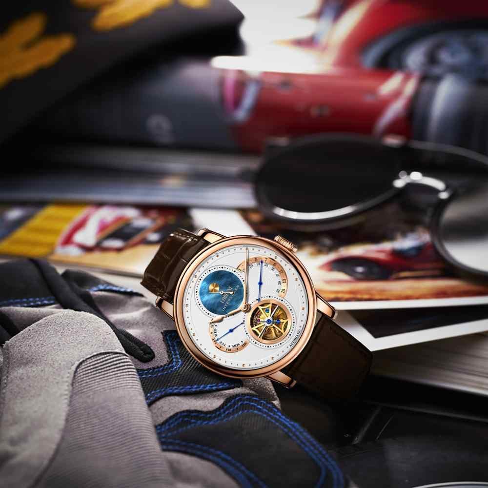 LOBINNI โรมนาฬิกา Mens 2019 relogio masculino อัตโนมัติเกียร์แบรนด์เหล็ก orologio หนังราคานาฬิกาข้อมือ