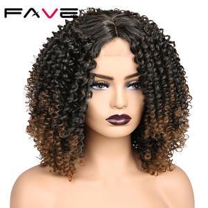 Image 2 - Fave Kinky Krullend Lace Pruiken Zwart Bruin Ombre Midden Deel Schouder Lengte Synthetisch Haar Hittebestendige Vezel Voor Zwarte Vrouwen