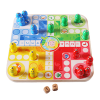 2 in 1 Magnetic Fishing Ludo Playing Board Game Wooden Early Education Flying Chess Game for Children Family Entertainmnet Gift
