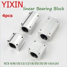 4pcs Rolamentos Lineares SCS8UU SC6/12/13/16/20/25/30 Unidade de Movimento Linear De Slides Rolamento De Esferas CNC Router SCS10LUU 3D Peças Da Impressora
