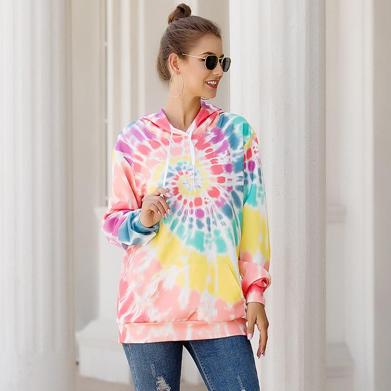 Sholina Plus Size Printed Loose Hooded Drawstring Pocket Warm Sweatshirts Women Fashion Casual Tops Tie Dye Pullovers Hoodie