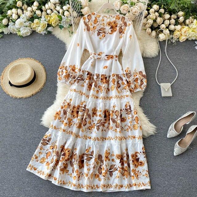 Vintage Print Dress  Elegant V Neck Single Breasted Sashes Tie Up 4