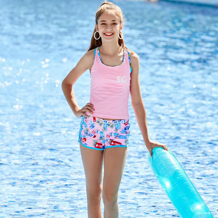 2019 New Style Sunshine GIRL'S Bathing Suit Big Kid Two-piece Swimsuits Beautiful Youth GIRL'S Tour Bathing Suit