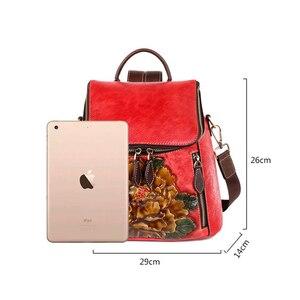 Image 5 - Johnature rétro en cuir véritable à fleurs de haute qualité femmes sac à dos de luxe 2020 nouveau sac à dos de voyage en peau de vache grande capacité