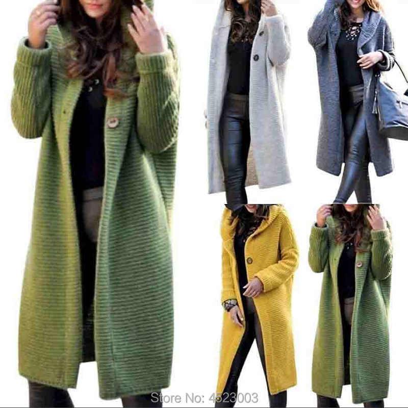 여성 후드 캐시미어 롱 가디건 니트 겨울 스웨터 여성 여성 스웨터 포켓 카디건 코트