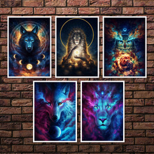 Lion Wolf Owl Wall Art Canvas Painting Abstract Animals Nordic Posters And Prints Pictures For Living Room Kids Decor