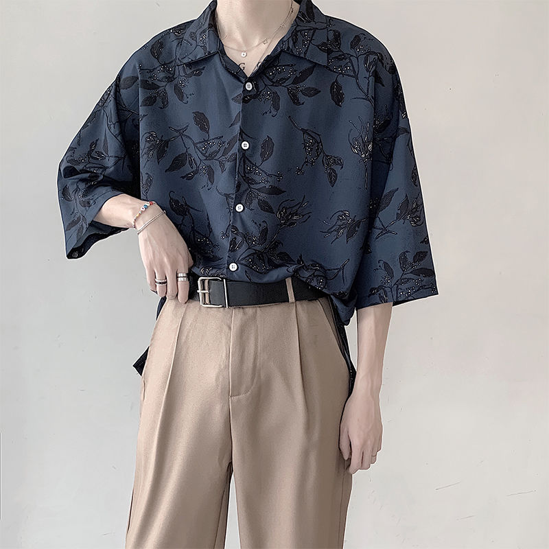 Summer Korean Shirt Men's Fashion Printed Flower Shirt Men Streetwear Hawaiian Shirt Mens Wild Loose Short Sleeve Shirt M-2XL