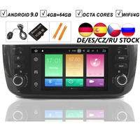 Car Android 9.0 DVD GPS Player For FIAT LINEA PUNTO EVO Auto Radio Stereo BT Wifi Octa Core Mirror Link 4GB+64GB MAP DVR SD DAB+