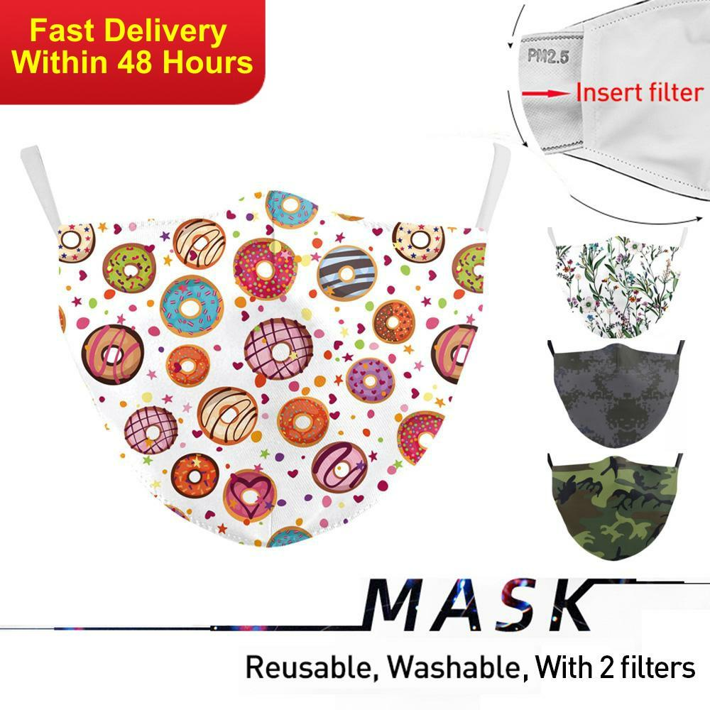 Zawaland Multicolor Reusable Washable Masks Cute Protective PM2.5 Filters Face Cover Adjustable Printed Mask Adult