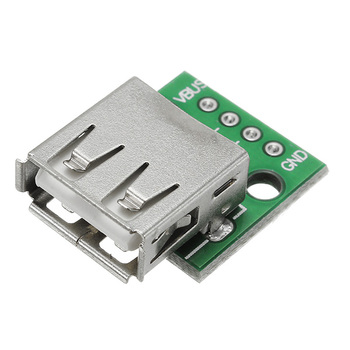 USB 2.0 female head to DIP 4p straight plug adapter board has been welded mobile phone power data cable image