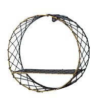 Industrial Wind Wall Rack Home Multi Layer Solid Wood Bookshelf Round Big Net Wall Hanging Retro Wrought Iron Wall Decoration|Decorative Shelves| |  -