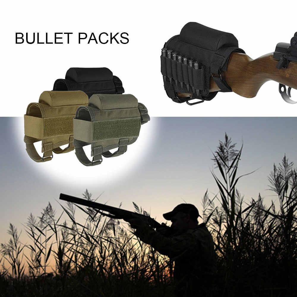 Tüfek yanak istirahat çantası Bullet ayarlanabilir naylon kartuşları çanta açık taktik Butt stok çok fonksiyonlu avcılık aksesuarları