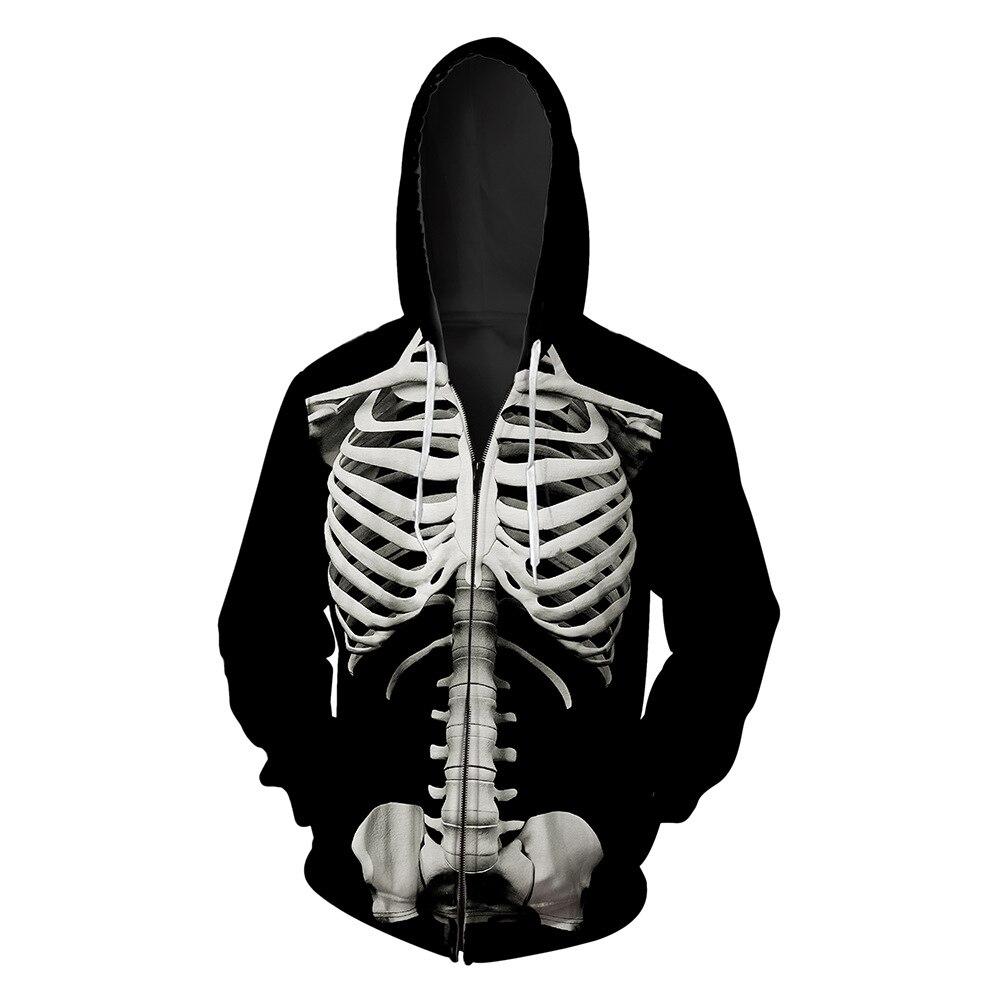 Cárdigan y gorra de hombre con estampado de calavera en otoño 2019 streetwear hip hop hoodie para hombre hoodies blusa hoodies - 3