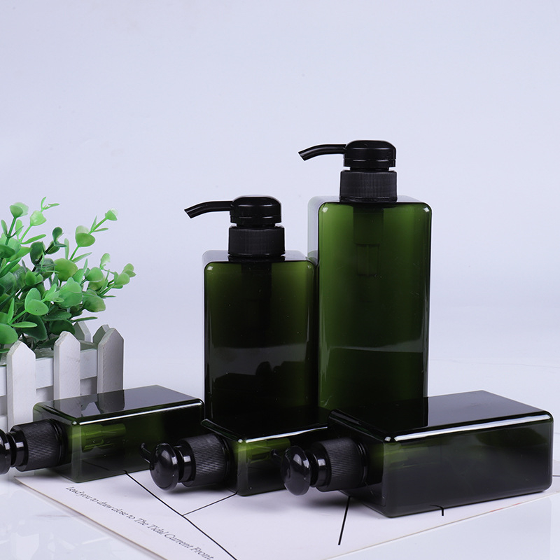 Plastic Square Lotion Bottle Pump Shampoo Bottles Lotion Container Empty Cosmetic Containers Pot Refillable Travel Bottle