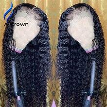 Alicrown 13*4 레이스 전면 인간의 머리카락과 가발 베이비 헤어 중간 비율 곱슬 레이스 가발 비 레미 헤어 매듭 표백 130 밀도