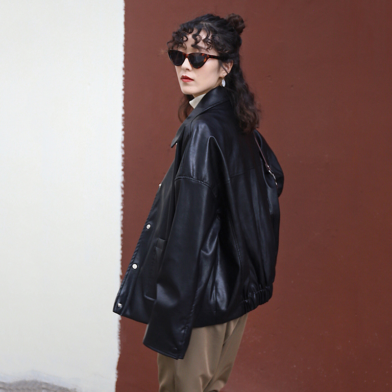 [EAM] Loose Fit Blue Pu Leather Brief Big Size Jacket New Lapel Long Sleeve Women Coat Fashion Tide Spring Autumn 2020 1X467 4