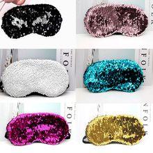 Women Girls Fancy Fish Scales Magic Reversible Sequins Elastic Sleeping Eye Mask