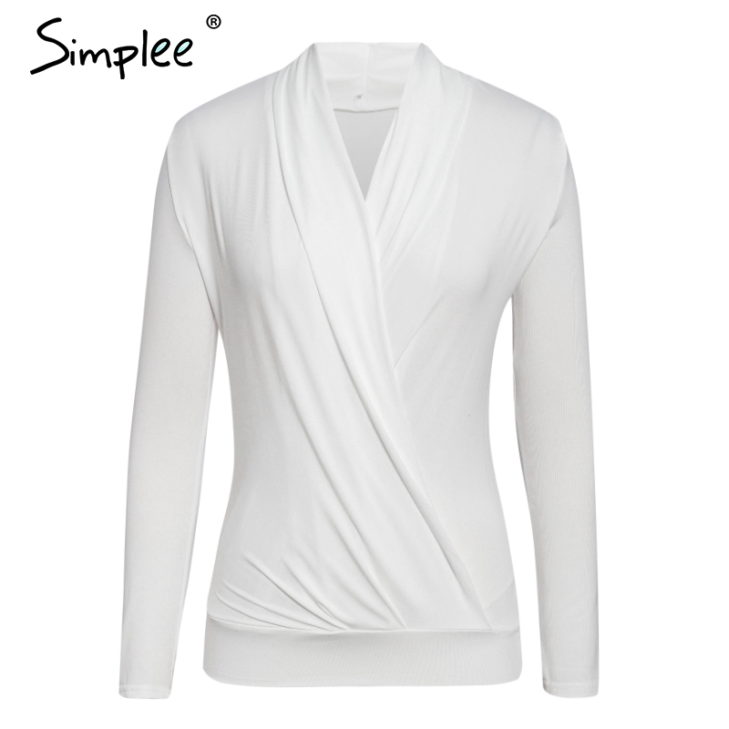 Simplee V neck office ladies blouses shirts Long sleeve autumn winter female white tops Sexy party club slim women blouse 2019 5