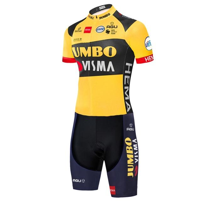 2020 equipe jumbo visma ciclismo skinsuit verão ao ar livre roupas de bicicleta triathlon uniforme 20d gel bodysuit 1