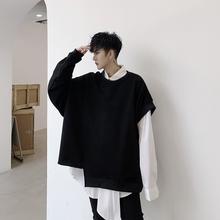Mężczyźni nieregularny rękaw w kształcie skrzydła nietoperza luźny w stylu casual czarny pulower z kapturem mężczyzna kobiet japonia styl Streetwear Punk Gothic bluza płaszcz tanie tanio EMAIGI Pełna W1766 Luźne Hip Hop STANDARD Batwing rękawem O-neck NONE Brak Stałe COTTON Poliester
