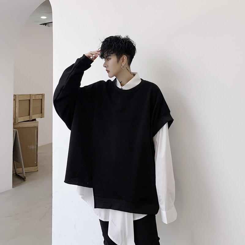 Men Irregular Bat Sleeve Loose Casual Black Pullover Hoodie Male Women Japan Style Streetwear Punk Gothic Sweatshirt Coat