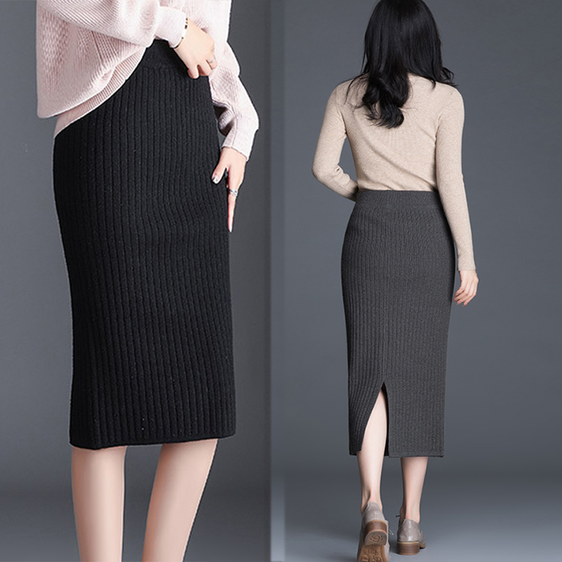 Women Sweater Skirt Pencil Midi Knitted Skirt High Waist Womens Winter Split Bottoms Skirt Woman Office Skirt Jupe Vintage Femme