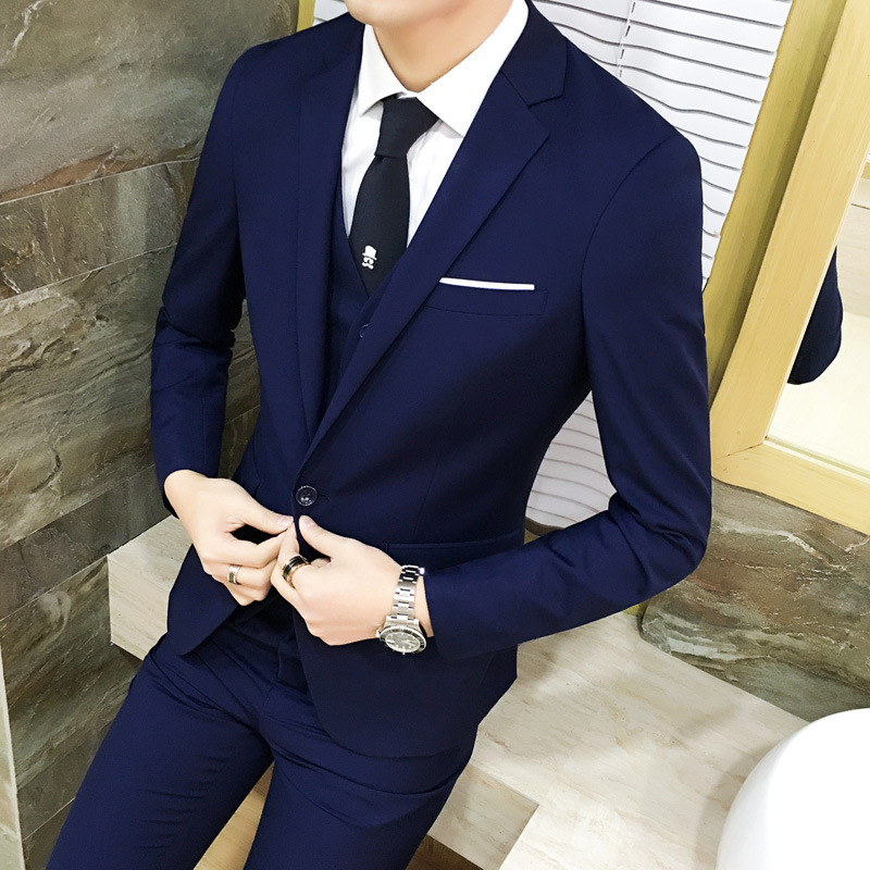 Suit Set Men Three-piece Set Business Business Formal Wear Suit Korean-style Slim Fit Best Man Groom Marriage Formal Dress Sprin