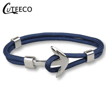 CUTEECO Woven Charms Anchor Bracelet Bangle For Men Stainless Steel Rope for Best Friend Dropshipping