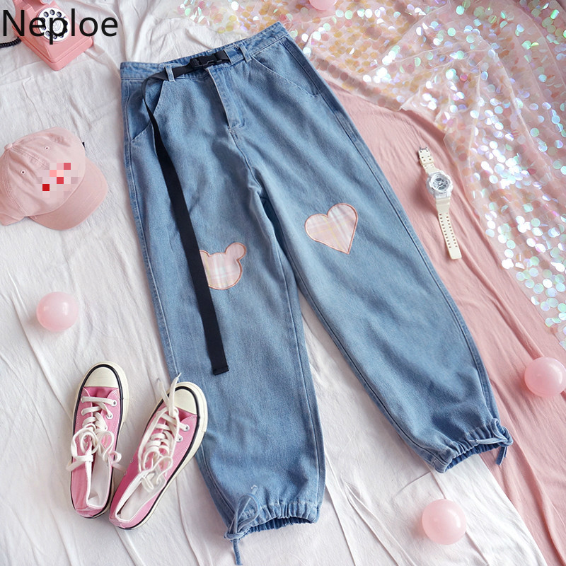Neploe Loose Harajuku Style Ins Heart Pattern Denim Pants High Waist Hip With Belt Girdle Trousers Pocket Wild Pantalones 81065