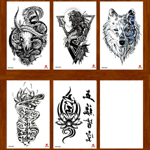 Временная татуировка Lion/Snake skull/lotus Flower, тату-наклейки, Мужская хна, тату боди-арт, татуировка непромокаемая Временная временная татуировка s
